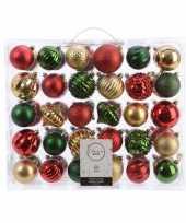 Plastic kerstversiering kerstballen set dennen groen goud rood 60 delig