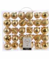 Plastic kerstversiering kerstballen set goud 60 delig kunststof