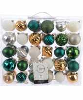 Plastic kerstversiering kerstballen set groen goud zilver wit 60 delig