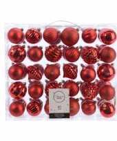 Plastic kerstversiering kerstballen set rood 60 delig kunststof