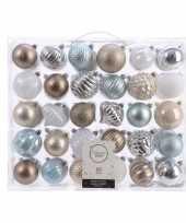 Plastic kerstversiering kerstballen set zilver champagne blauw bruin 60x