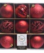 Plastic rode kerstversiering kerstballen set van kunststof 9 stuks