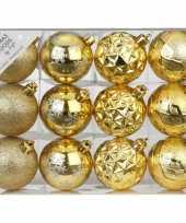 Plastic set van 12 luxe gouden kerstballen 6 cm kunststof mat glans