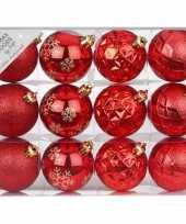 Plastic set van 12 luxe rode kerstballen 6 cm kunststof mat glans