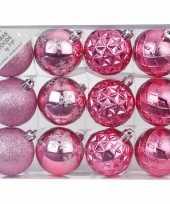 Plastic set van 12 luxe roze kerstballen 6 cm kunststof mat glans