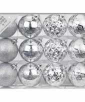 Plastic set van 12 luxe zilveren kerstballen 6 cm kunststof mat glans