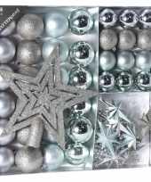 Plastic zilver ijsblauwe kerstversiering kerstballen set 45 delig