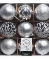 Plastic zilveren kerstversiering kerstballen set van kunststof 9 stuks